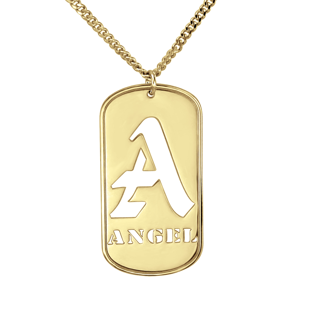 Personalized Gold Mens Dog Tag Necklace - Initial and Name