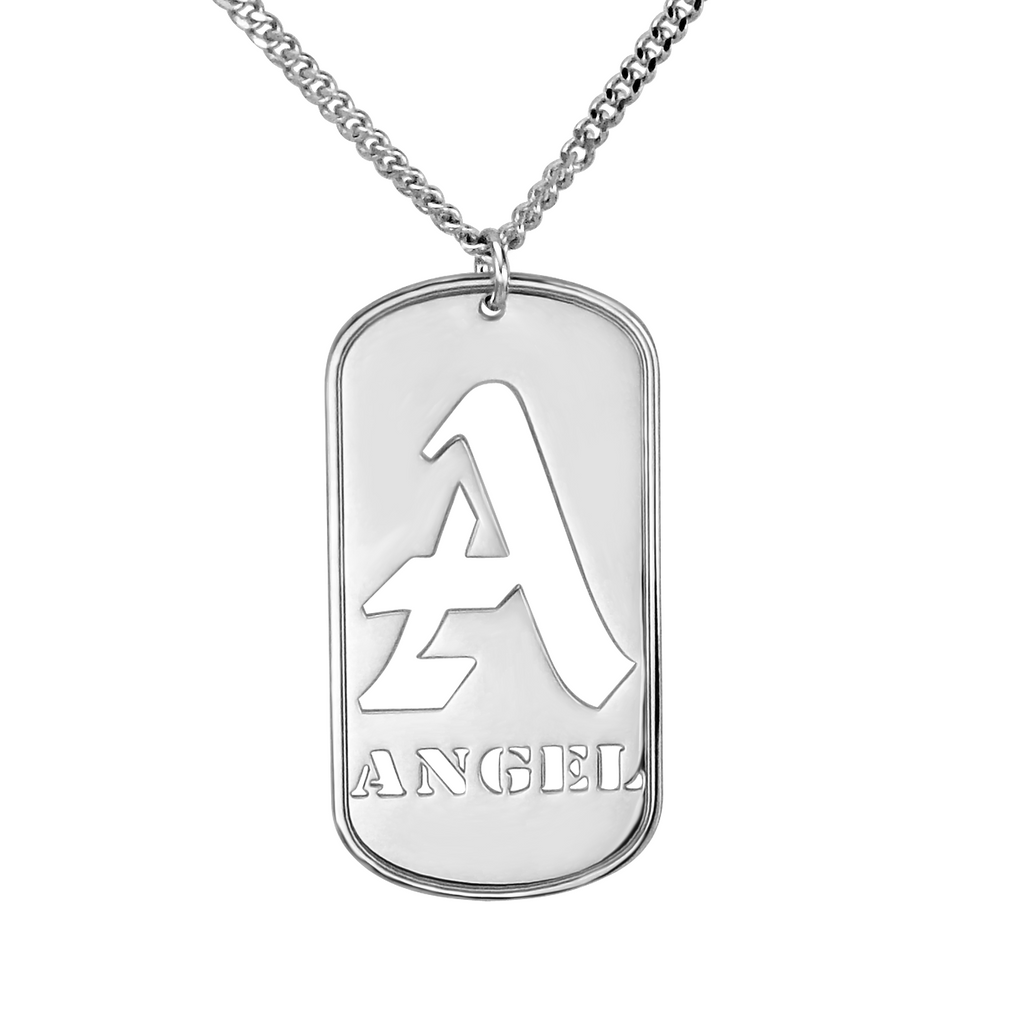 Personalized Mens Dog Tag Necklace - Initial and Name