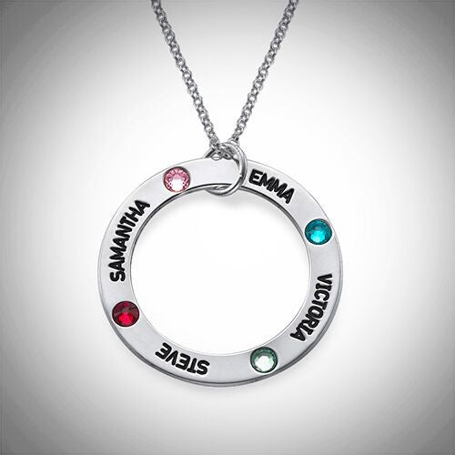 Personalized Mothers Loop Necklace with Birthstones