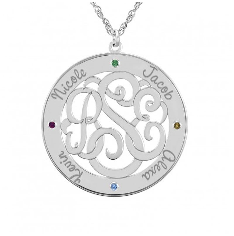 Classic Border Round Monogram Mothers Necklace with Birthstones