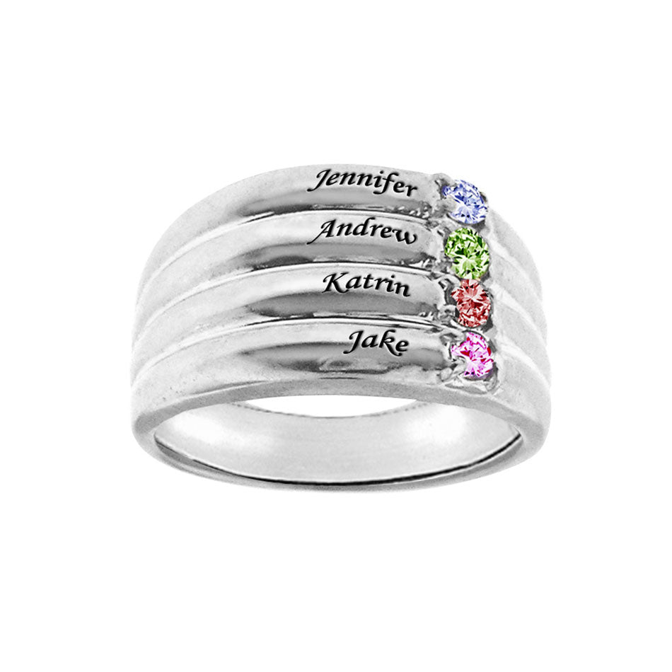 Personalized Mothers Ring - Names and Birthstones 2