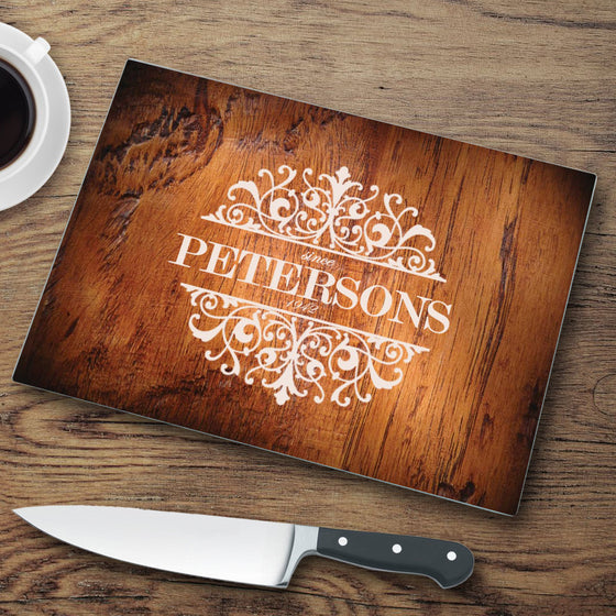 Personalized Glass Cutting Board | Rosewood