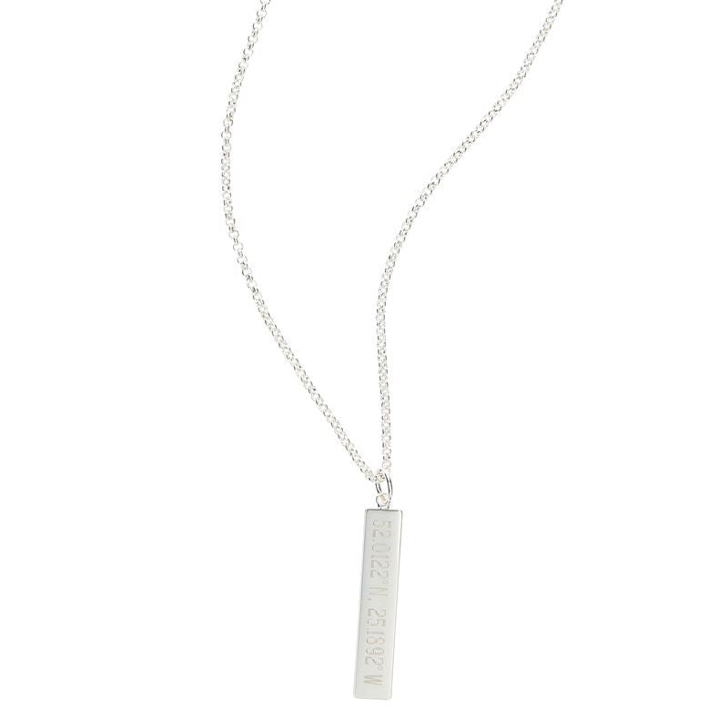 Silver Plated Engraved Vertical Bar Necklace