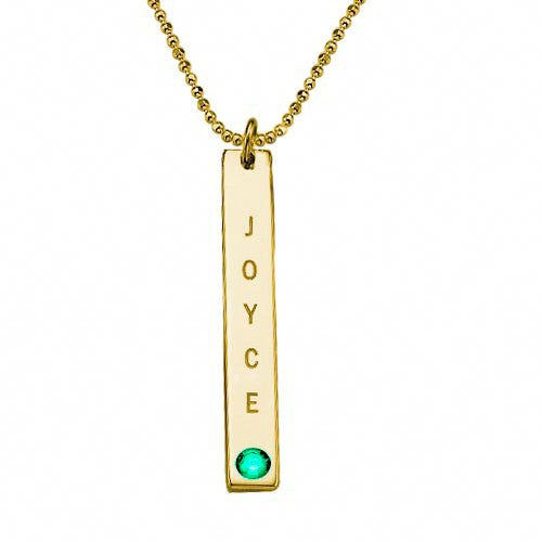 Personalized Vertical Gold Bar Necklace with Birthstone