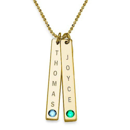 Personalized Vertical Gold Bar Necklace with Birthstone 2