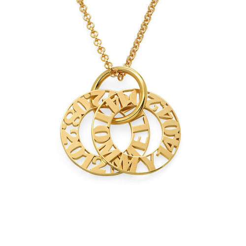 Mother's Name and Birth Date Token Necklace - 1-5 Discs