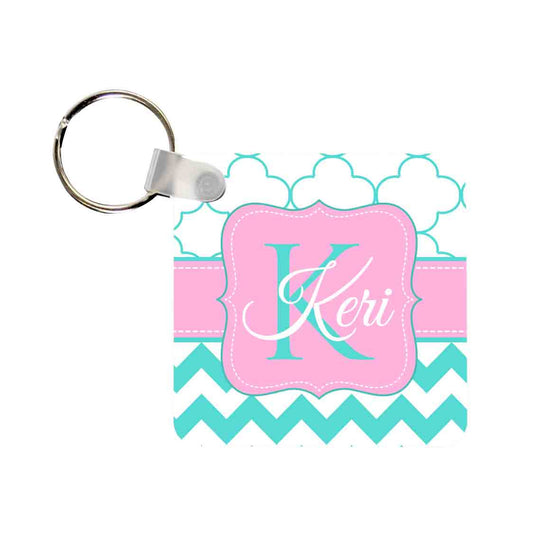 Monogram Key Chain - Clover Chevron