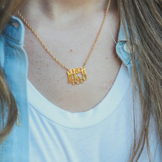 Petite Filigree Monogram Necklace