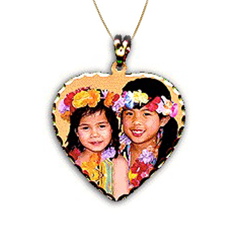 Personalized Heart Photo Charm Necklace - 3 Sizes