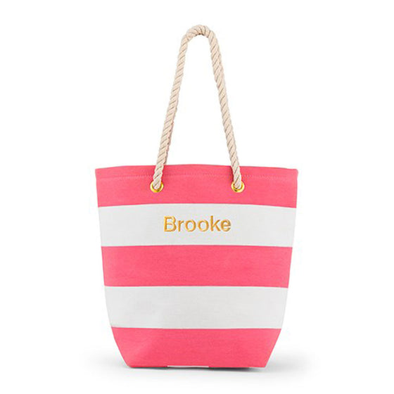 Monogram Pink Stripe Tote Bag - Rope Handles