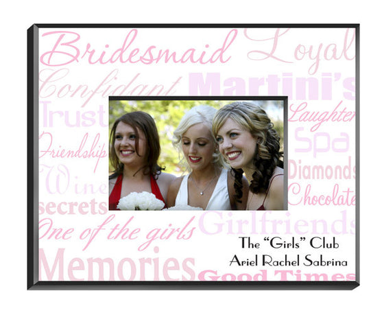 Personalized Bridesmaid Frame Pink On White