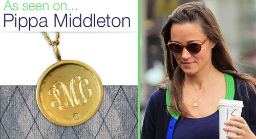 14K Gold Rimmed Monogram Necklace With Diamond Pippa Middleton Alternate 1