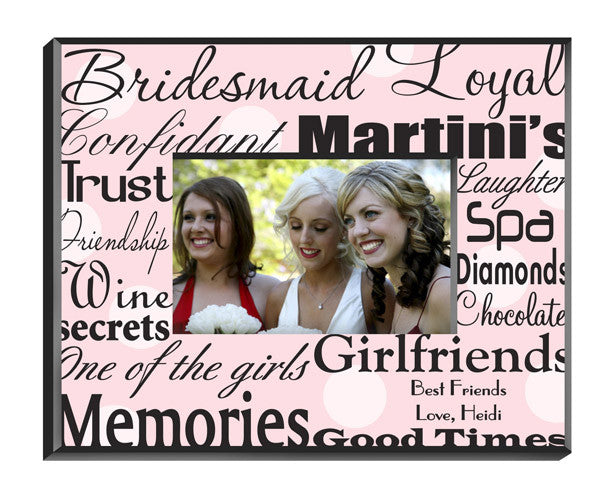 Personalized Bridesmaid Frame Polka Dots On Pink