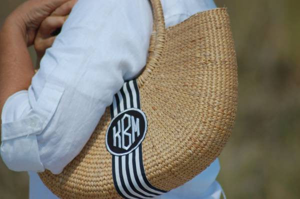 Monogram Large Cape Cod Straw Basket Shoulder Bag Alternate 1