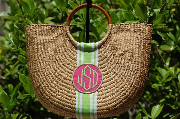 Monogram Medium Cape Cod Straw Basket Bag Alternate 1