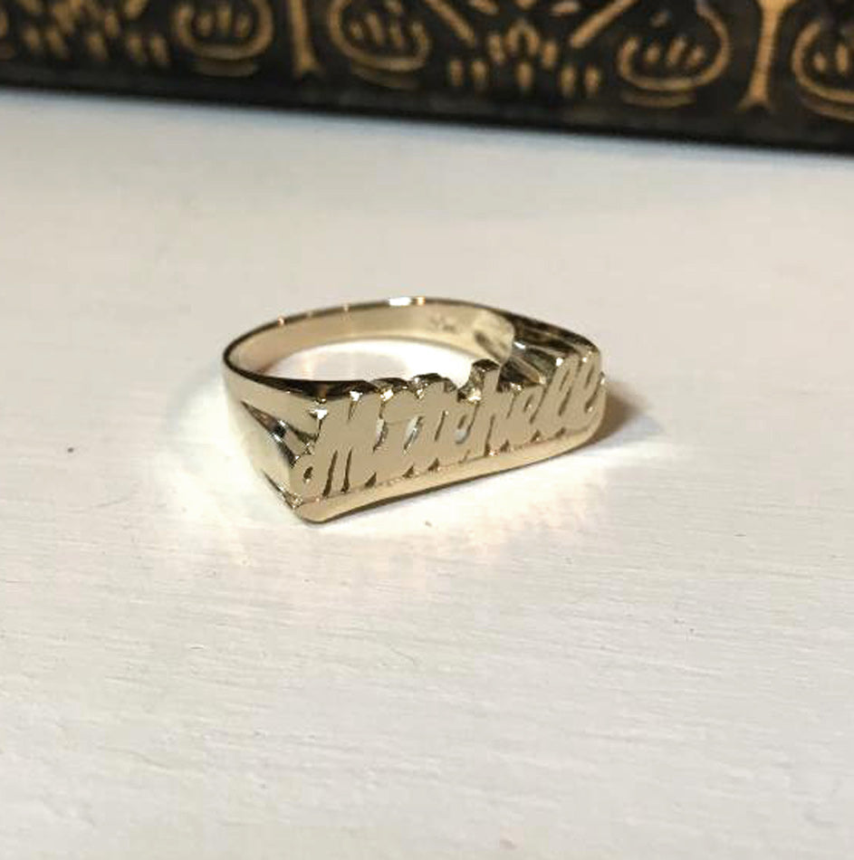 10K Gold Small Name Ring with Tail 2
