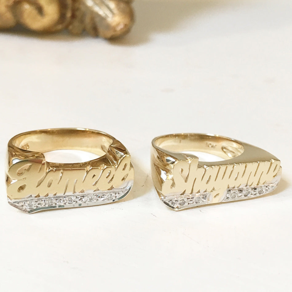 Name Ring with Diamonds - 8mm 3