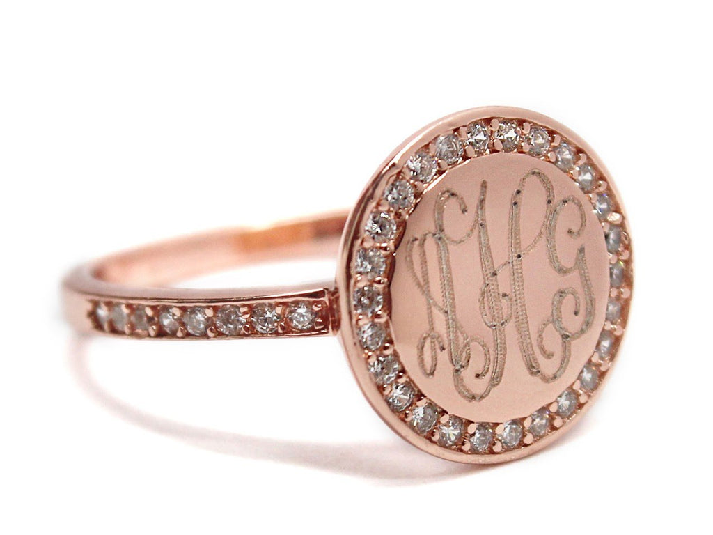 Gold Straight Band CZ Monogram Ring 2