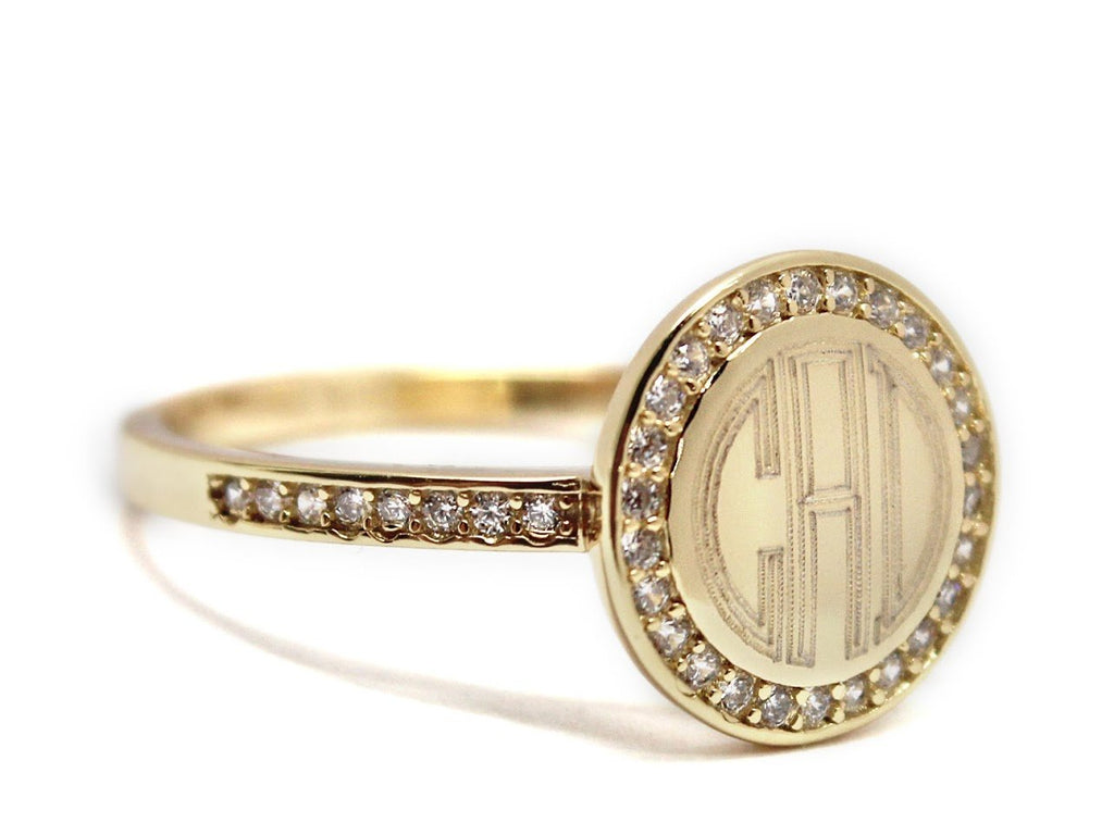 Gold Straight Band CZ Monogram Ring