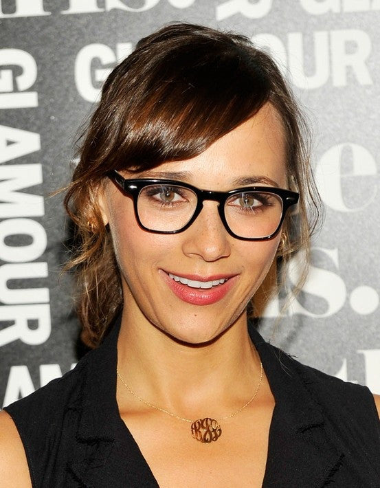 Rashida Jones wearing little monogram necklace