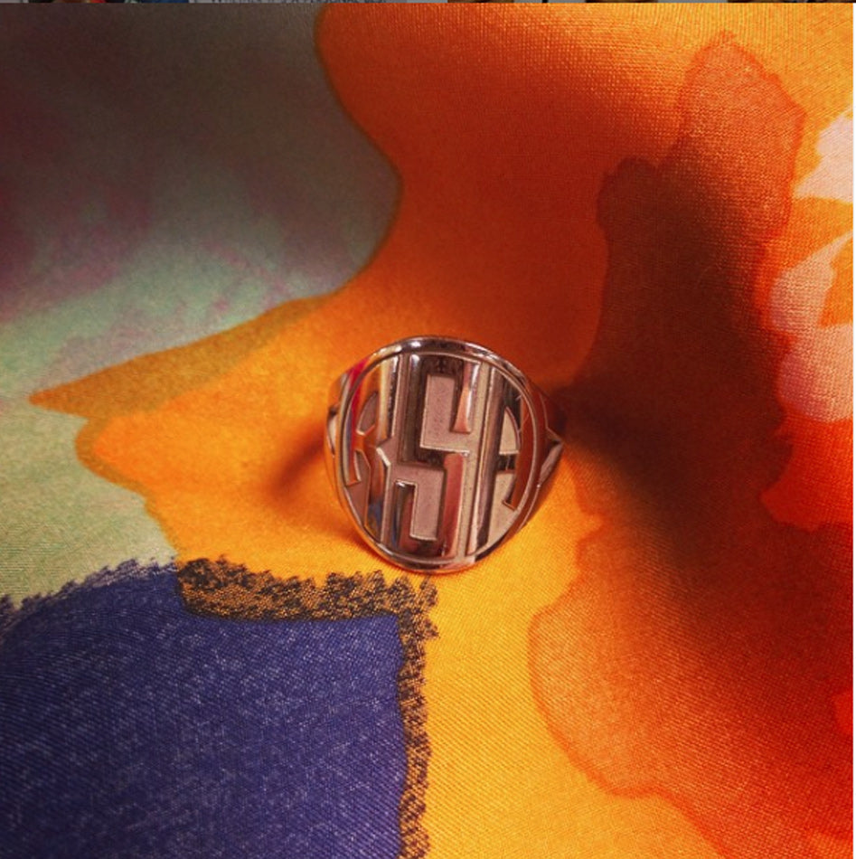 Block Recessed Monogram Ring 3