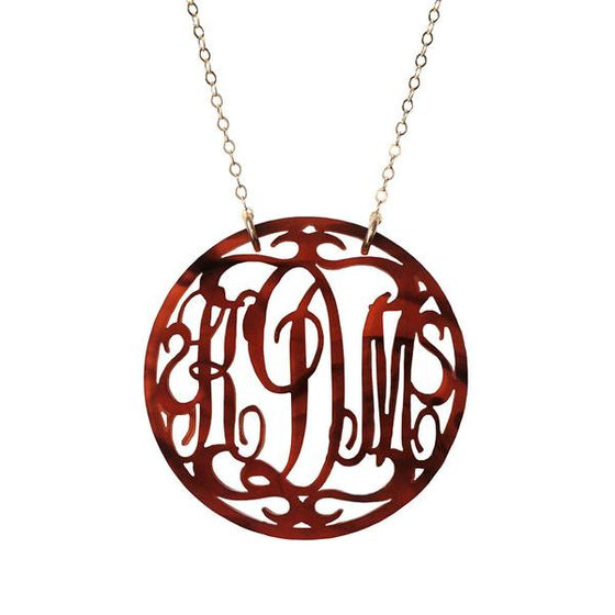 Rimmed Acrylic Script Monogram Necklace