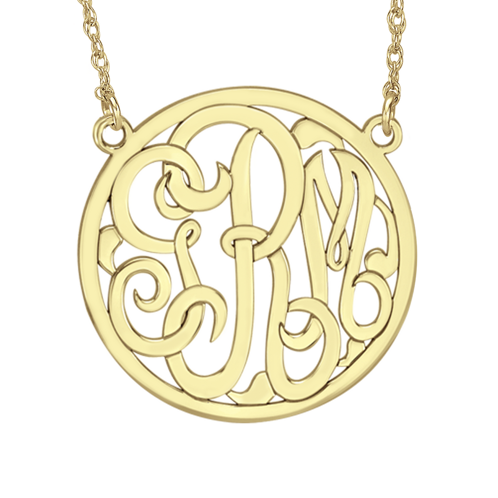Classic Bordered Monogram Necklace