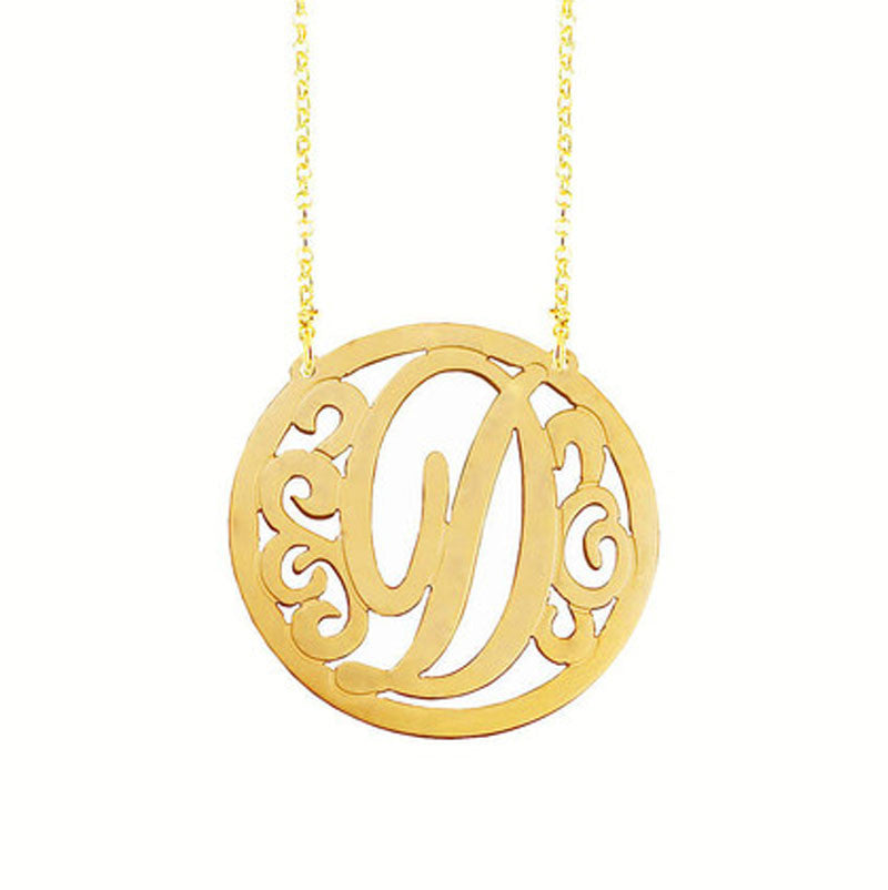 Rimmed Swirly Initial Necklace 2