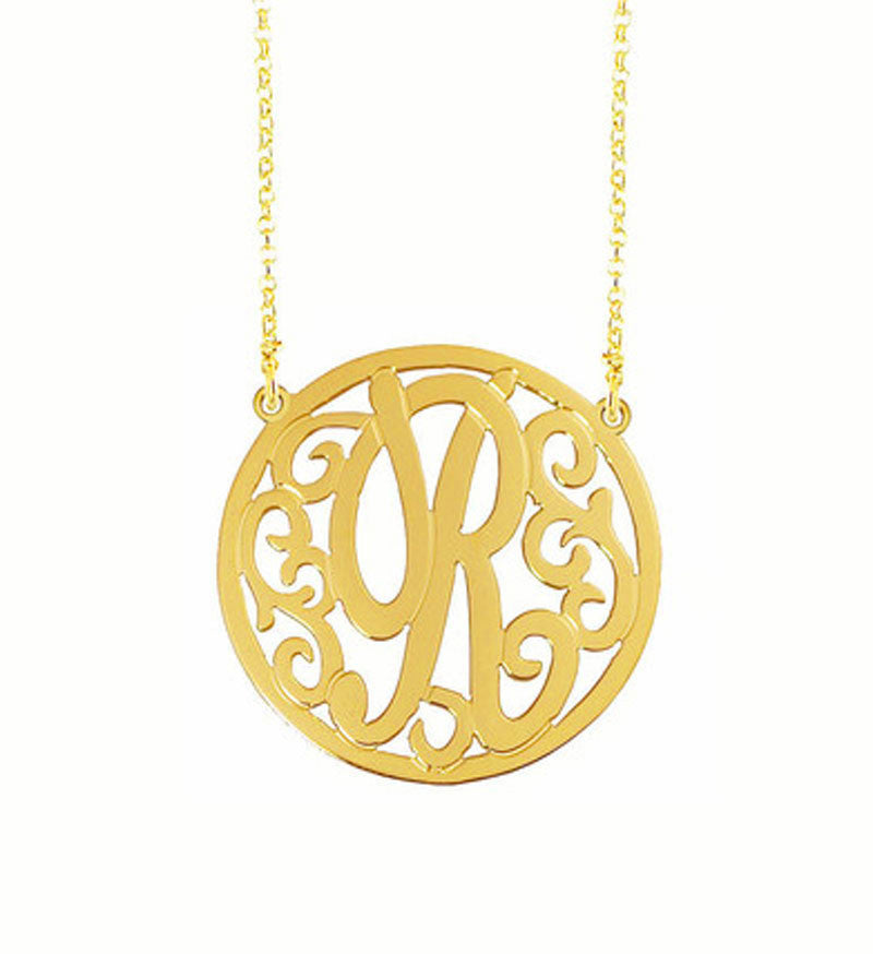 Rimmed Swirly Initial Necklace
