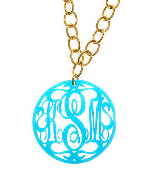 Extra Large Rimmed Script Acrylic Monogram Necklace