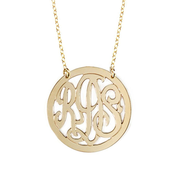 Rimmed Script Monogram Necklace - 3 Sizes