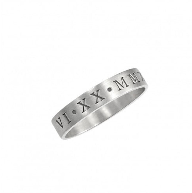 Engraved Roman Numeral Ring silver
