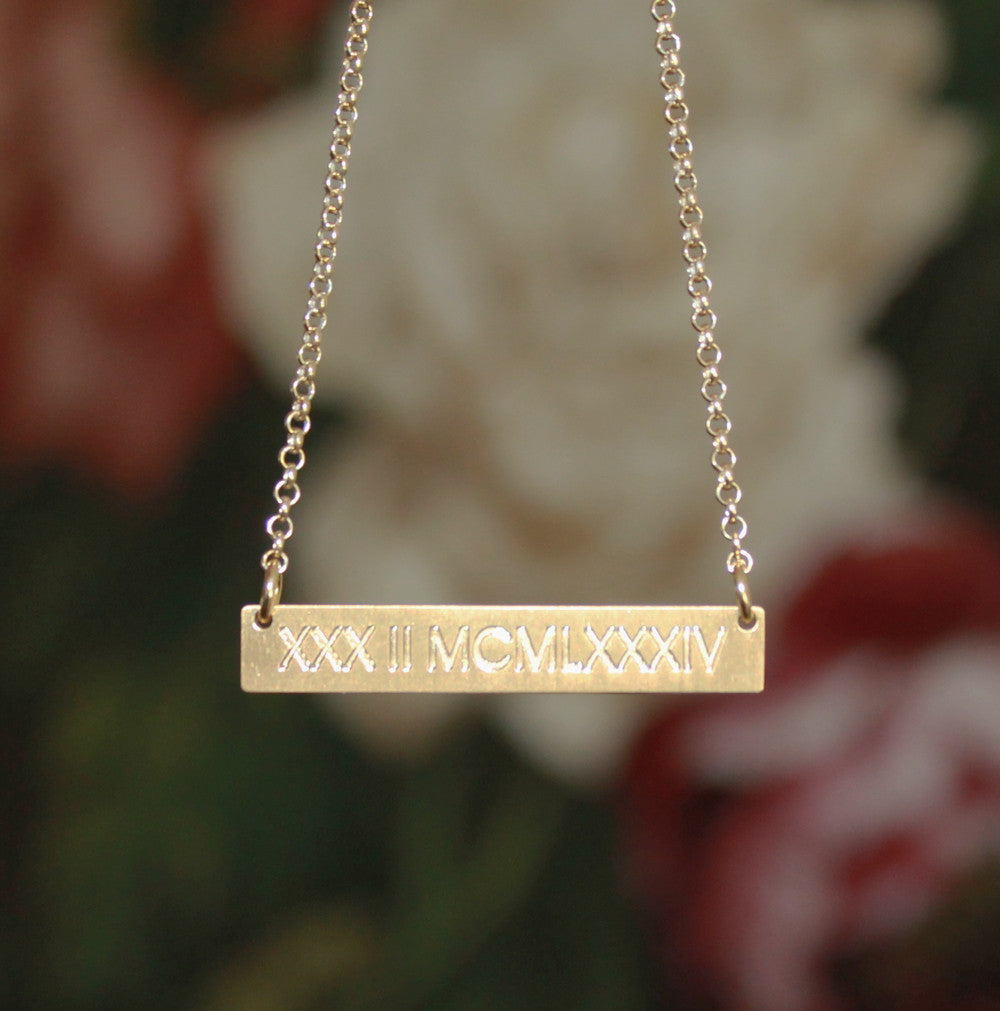 roman numeral gold vermeil bar necklace satin finish-medium