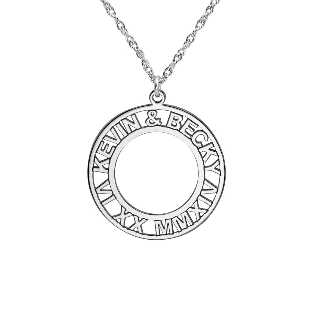 Roman Numeral and Names Anniversary Necklace 3