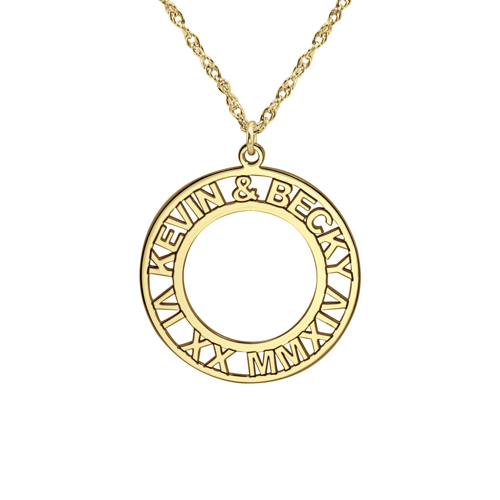 Roman Numeral and Names Anniversary Necklace