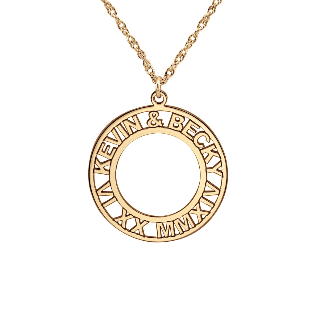 Roman Numeral and Names Anniversary Necklace 2