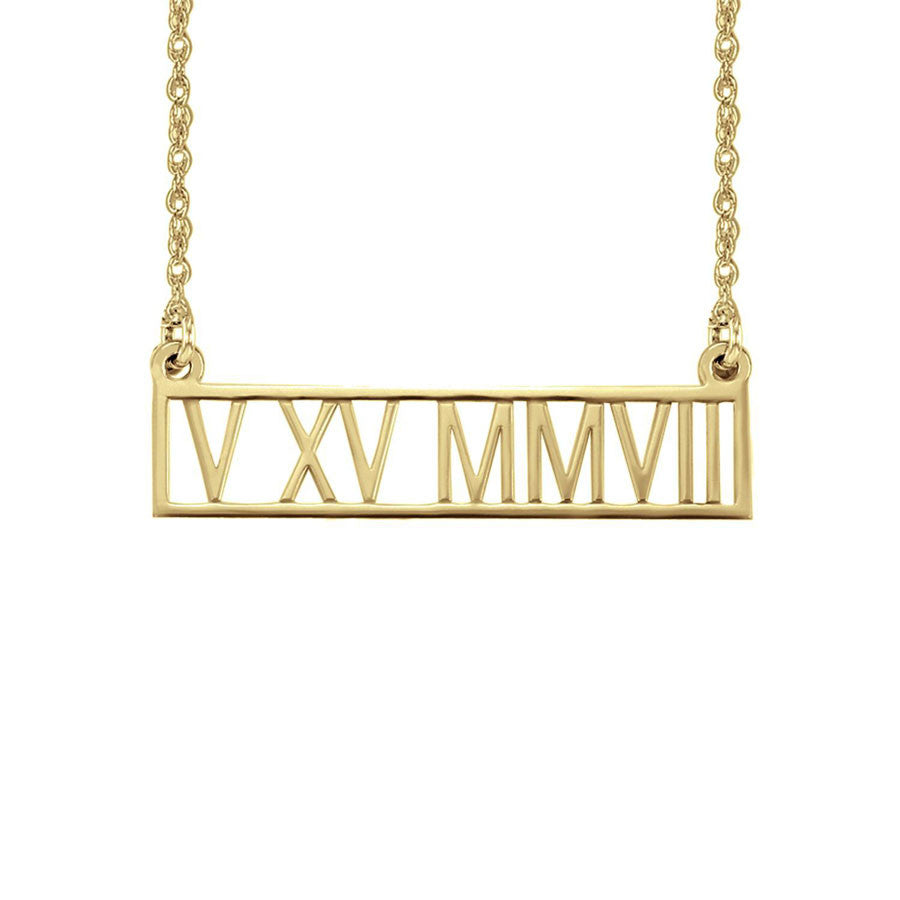 roman numeral necklace gold