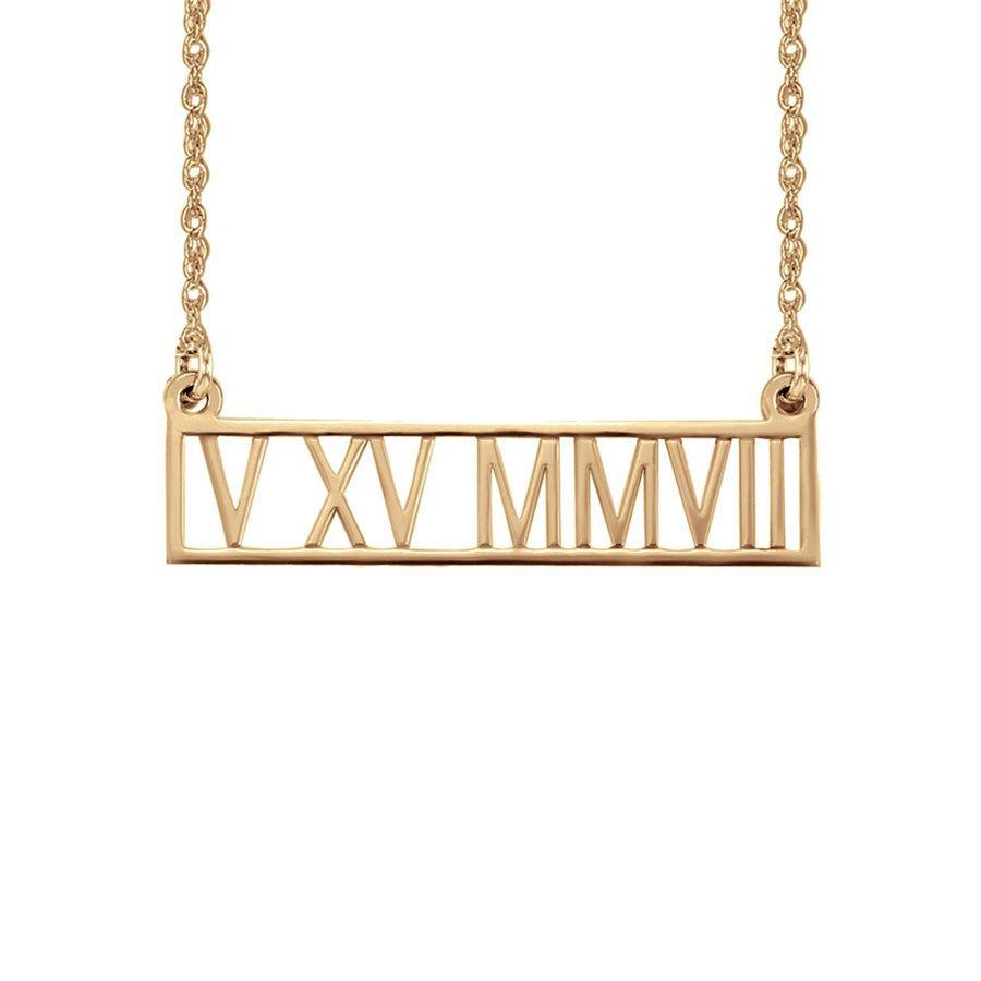 necklace roman bar rose date numeral gold