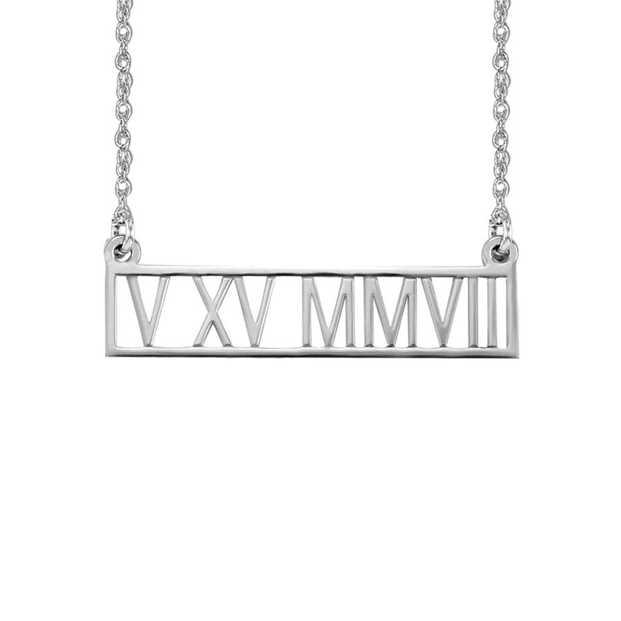 roman numeral necklace silver