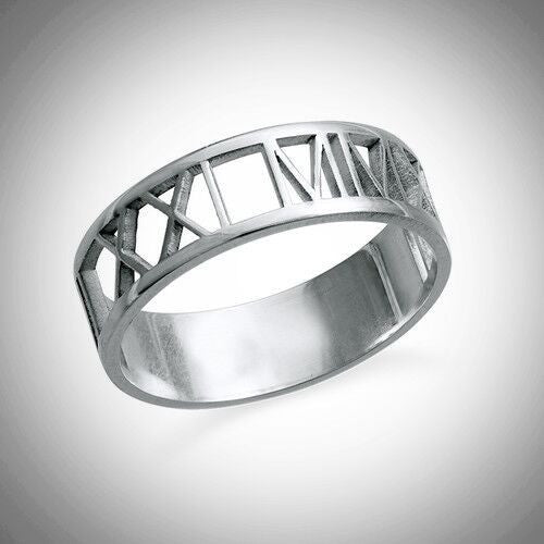 Sterling Silver Roman Numeral Ring