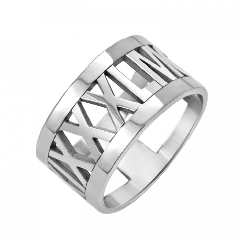 Large 10K White Gold Roman Numeral Ring