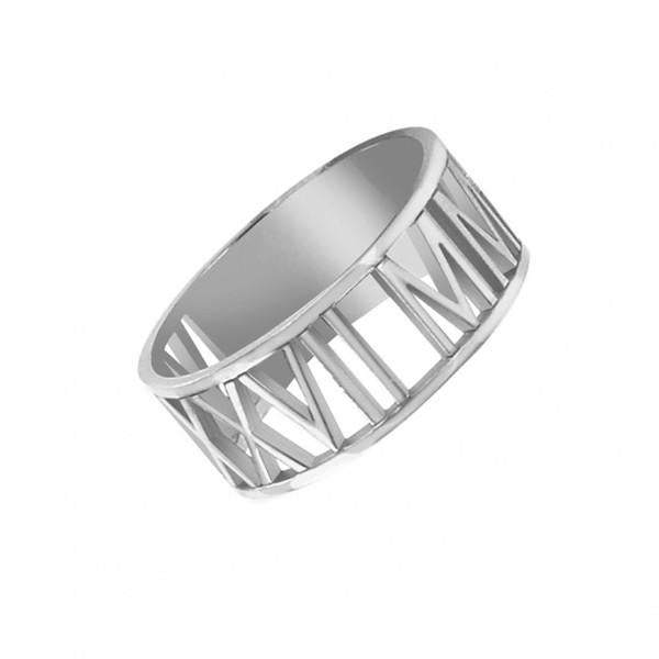 10K White Gold Roman Numeral Ring