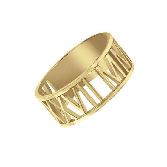 10K Gold Roman Numeral Ring