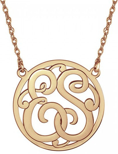 Classic Halo Two Initial Monogram Necklace rose gold