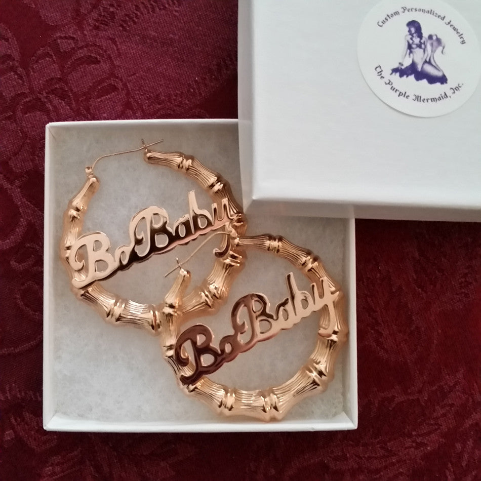 bcbbb94be ... 24K Gold Rose Plated Large Bamboo Name Hoop Earrings ...