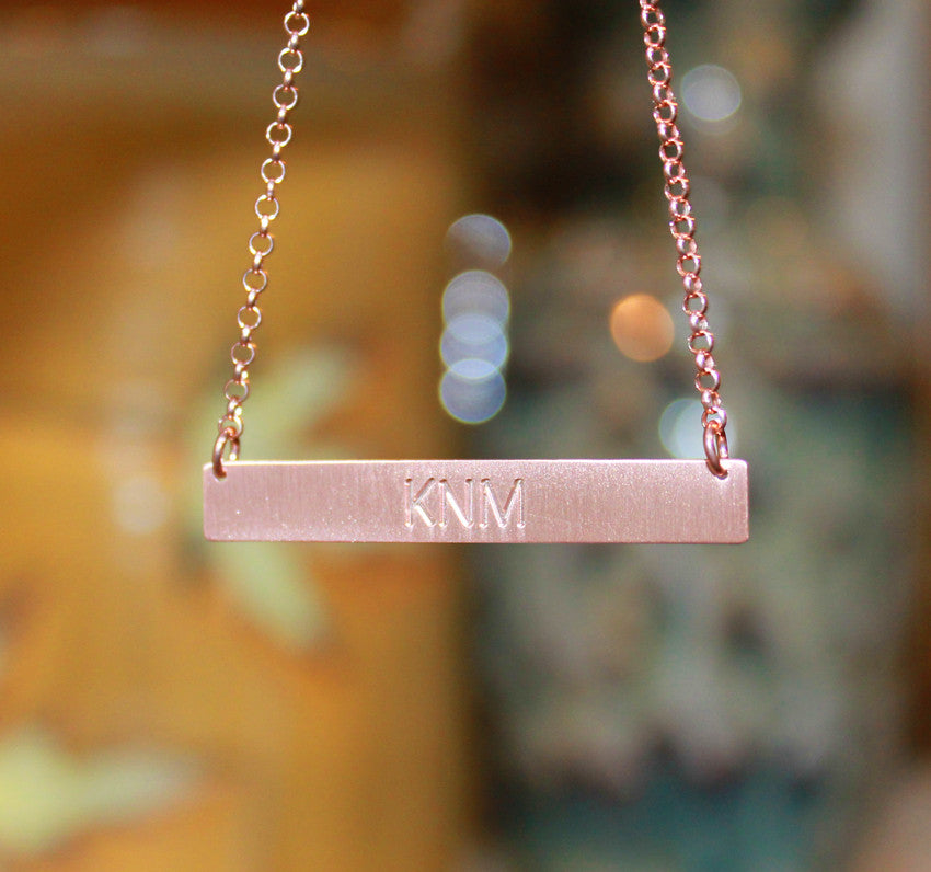 rose gold bar necklace engraved - gold vermeil-large