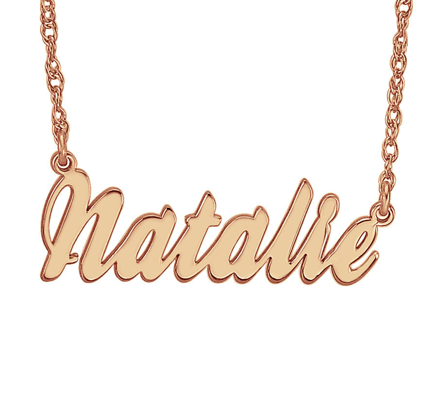Rose Gold Cursive Nameplate Necklace