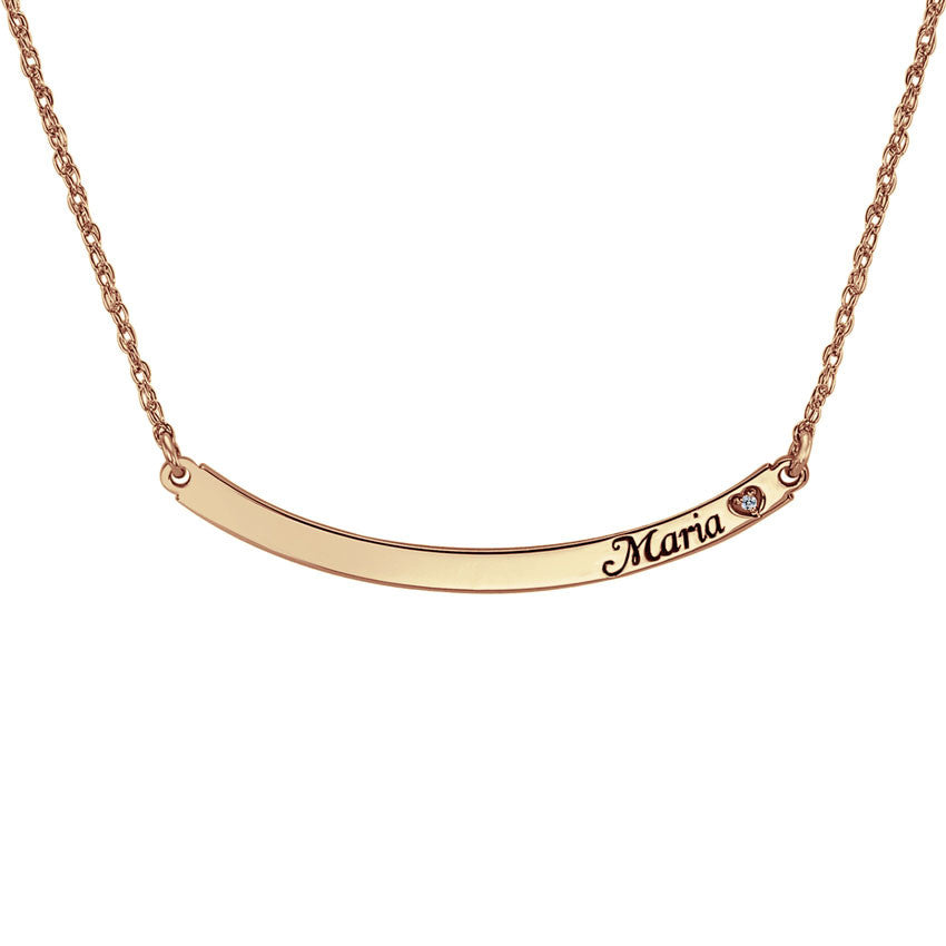 rose gold Personalized Curved Bar Necklace with Diamond