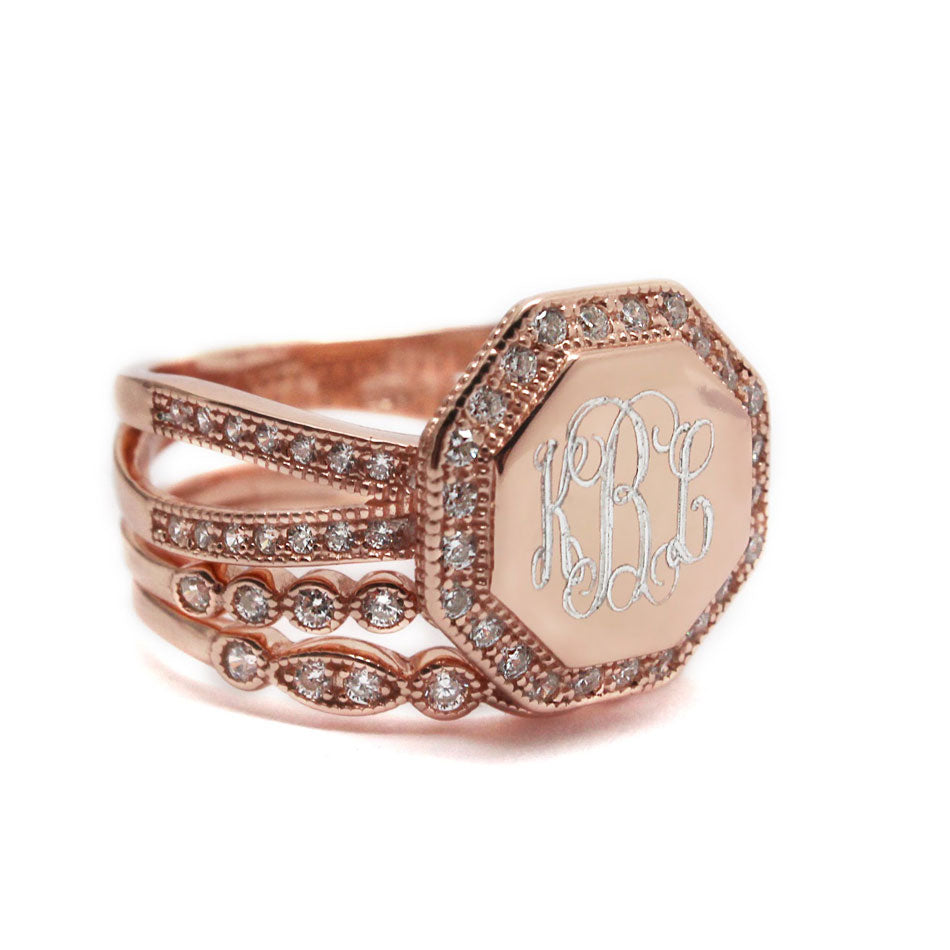 Rose Gold CZ Rimmed Octagon Monogram Stacking Ring