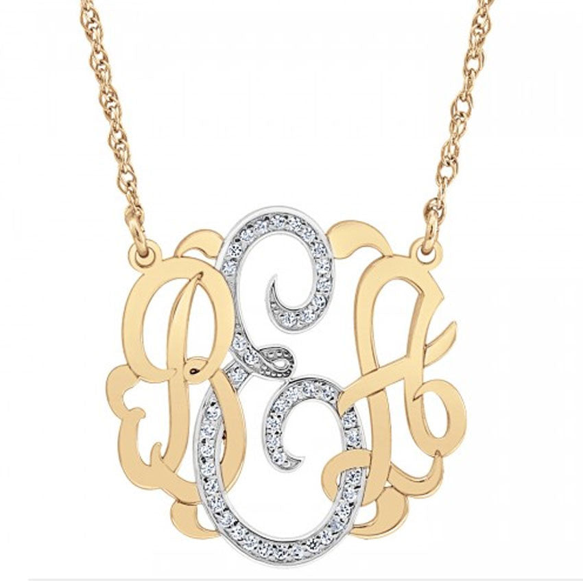 rose gold diamond monogram necklace